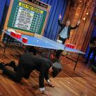 The talk show host learned the hard way that losing a beer pong match to a trained professional can be brutal. Here he is, holding onto the floor for dear life, as we all have done after a night of dallying with Bacchus.
