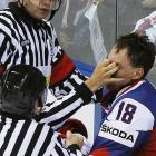 On-ice officials were apparently free to use  Three Stooges tactics  to subdue combatants at this year's Ice Hockey World Championships in Bratislava.