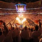 Not to be outdone by soccer's flaming stadiums and bonfires in the stands, the NBA has apparently gotten on the pyromania bandwagon, as evidenced by this stunning full-color photograph taken at FedExForum in Memphis on May 7.