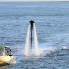 If your spirits need a lift, may we suggest you try a four-stroke engine and water nozzle reaction force? Demonstration from Cap d'Antibes, France.