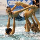 The inability to swim is never a problem in the synchronized version of the sport.