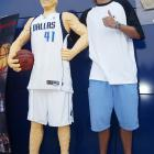 Nowitzki stands besides his likeness made out of Legos during his visit to Legoland Germany.