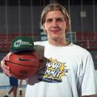 Dirk poses during a photo shoot in Bonn, Germany in November 1998. Because of the NBA lockout, his rookie season was delayed and shortened, and he returned to his club team, DJK Wurzburg, for 13 games before the labor issues were resolved.
