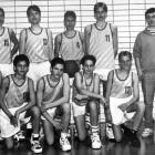 The 13-year-old Nowitzki poses with his youth basketball team.