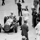The Indy 500 winner in 1937 and 1939 is shown here after qualifying second for the 1940 race. The Shelbyville, Ind., native went on to win his third title that year.
