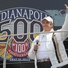 """Jim Nabors waves before singing """"Back Home Again in Indiana"""" before the Indianapolis 500 auto race at the Indianapolis Motor Speedway."""