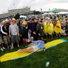 Forecasted rain held off at race time, but that didn't stop the Slip-'N-Slide action.