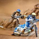 Sweden's Fredrik Lindgren embarrasses the competition during an early heat at the FIM motorcycle speedway Grand Prix in Gothenburg, Sweden.