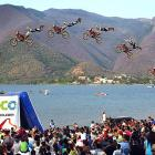 A multiple exposure image captures a competitor in action during the Adrenalina Nuevo Leon 2011 in Santiago, Mexico.