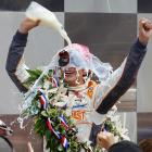 Keeping with tradition, driver Dan Wheldon celebrated his victory in the 100th Indianapolis 500 with a bottle of milk. Unlike previous winners, however, Wheldon chose to bathe in, not drink the milk.