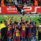 Barcelona tossed its manager Josep Guardiola (top) into the air as they celebrated their 3-1 victory over Manchester United in the UEFA Champions League final on May 28.