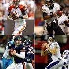 Clockwise from top left: #1: Carson Palmer (USC), Cincinnati Bengals #7: Byron Leftwich (Marshall), Jacksonville Jaguars #19: Kyle Boller (California), Baltimore Ravens #22: Rex Grossman (Florida), Chicago Bears