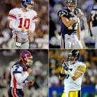 Clockwise from top left: #1: Eli Manning (Ole Miss), San Diego Chargers* #4: Philip Rivers (NC State), New York Giants* #11: Ben Roethlisberger (Miami (OH)), Pittsburgh Steelers #22: J.P. Losman (Tulane), Buffalo Bills *The Chargers immediately traded Manning to the Giants for Rivers and were also compensated with a third-round pick and first- and fifth-round picks in 2005.