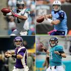 Clockwise from top left: #1: Cam Newton (Auburn), Carolina Panthers #8: Jake Locker (Washington), Tennessee Titans #10: Blaine Gabbert (Missouri), Jacksonville Jaguars #12: Christian Ponder (Florida State), Minnesota Vikings