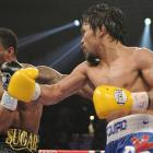 Pacquiao lands a punch against Mosley in the ninth round.
