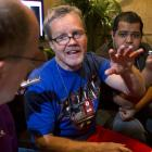 Freddie Roach, trainer for Manny Pacquiao, answers questions for reporters.