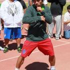 Pacquiao trains for Saturday's fight at the UNLV track.