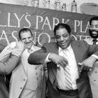 """Mays jokes with other former athletes promoting the """"21"""" Club's second annual Greatest Sports Legends reunion in 1983. Joining Mays were former hockey player Phil Esposito, wrestler Bruno Sammartino and basketball player Walt Frazier."""