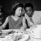 """Mays sits with Claire Ruth, the widow of Yankees' legend Babe Ruth, at a 1972 luncheon honoring players featured in the book, """"Sports Immortals."""" When Ruth was asked how she felt about Hank Aaron closing in on her late husband's all-time home run record, Mays whispered to her, """"Don't worry, Mrs. Ruth. No one will ever take the place of the Babe."""""""