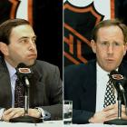 The 1994-95 NHL lockout saw the regular season shortened from 84 games to 48. All of the games were intra-conference contests and the 22-18-8 New Jersey Devils went on to win the Stanley Cup. (Pictured: NHL Commissioner Gary Bettman, left, and NHLPA Executive Director Bob Goodenow)