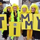 Lovely lasses showed their support for their favorite burly, pugnacious netminder before Game 3 of the Stanley Cup Final at TD Bank Garden in Boston