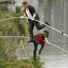 """The great grandson and the granddaughter of """"Flying Wallendas"""" founder Karl simultaneously walked across a 300-foot-long wire suspended 100 feet up between two towers of the Conrad Condado Plaza Hotel in San Juan, Puerto Rico, on June 4. Obviously not the time or place for these Wallendas to go flying."""