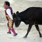 A member of Los Enanitos Toreros (Dwarf Bullfighters), a group of six Mexican comedians, was the butt of a joke in Cancun on May 29. (Note: No animals were harmed in the making of this photograph.)