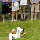 Full contact rules were introduced to the U.S. Open this year and the Swedish duffer ended up on his duff after being unable to avoid the blitz  on the ninth hole during the first round at Congressional Country Club in bucolic Bethesda, Maryland, USA.