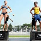 Ancient Roman statues were on display in Rome before the big beach volleyball event.
