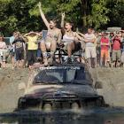 These fine ladies are indeed off the road somewhere near Budapest, where the two-day festival attracts 200,000 mud-lovin' participants each and every year.