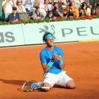 Rafael Nadal reacts after winning his sixth French Open title.