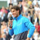 Rafael Nadal addresses the crowd after Sunday's victory.