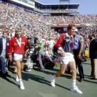 Borg and McEnroe walk out to Louis Armstrong Stadium before the U.S. Open men's final on Sept. 13, 1981.
