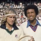 Borg poses with Ashe before their Wimbledon men's quarterfinal match on July 2, 1975.