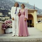 Bjorn Borg is shown with his wife Mariana during a party given at a Monte Carlo country club on July 26, 1980 -- two days after their wedding in Bucharest.