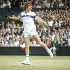 McEnroe returns to Borg during the Wimbledon final on July 4, 1981.