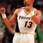 Jackson busts a move after making a late-game 3-pointer against the Chicago Bulls in Conseco Fieldhouse. The Pacers won 103-97 against the Jordan-less Bulls.