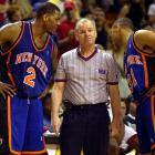 Mark Jackson has a chat with long-time NBA official Joe Crawford after he ejected Jackson's coach Jeff Van Gundy during a game against the Heat in 2001. It was Jackson's second stint with the Knicks.