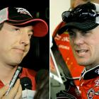 """Two of NASCAR's best racers were involved in arguably the fight of the year at Darlington Raceway. Kyle Busch (left) clipped Harvick towards the end of the race, causing Harvick to spin out and slam into the wall. After the race, Harvick stopped his car in front of Busch on pit row, got out and tried to punch his rival driver. Busch slammed on the accelerator, knocking Harvick's car out of the way. Harvick was brief in his comments about Busch after he left the track, saying, """"I wanted to knock the piss out of him."""" A few weeks later Busch was embroiled in another feud, when angry team owner Richard Childress put the driver in a headlock and punched him several time for damaging one of Childress's vehicles."""