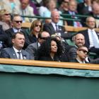 Diana Ross watches Serena Williams' first-round victory over Aravane Rezai on Centre Court at Wimbledon.