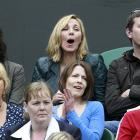 Actress Kim Cattrall (top center) watches the Venus Williams-Kimiko Date Krumm match on Centre Court.
