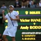 Andy Roddick celebrates his victory over Romania's Victor Hanescu.