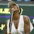 Venus Williams of the United States reacts during her second-round match against Japan's Kimiko Date-Krumm.