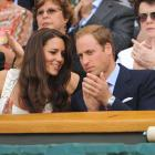 Great Britain's Duke and Duchess of Cambridge arrive at Centre Court prior to the start of play Monday at Wimbledon.