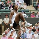 Serena Williams of the U.S. celebrates a point win during her fourth-round match against France's Marion Bartoli.