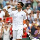 Novak Djokovic of Serbia celebrates after winning his fourth-round match against Michael Llodra of France.
