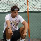 Rafael Nadal sits during a session on the Aorangi practice courts.