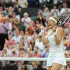 Sabine Lisicki celebrates her victory over Marion Bartoli, which made her the second wild-card entry to make the women's semifinals in Wimbledon history.