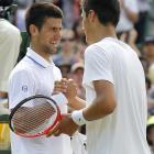 Novak Djokovic (left) shakes hands after defeating Bernard Tomic.