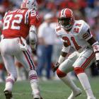 Sanders was drafted by the Falcons 5th overall in the 1989 draft and immediately made his mark. The first punt he touched was returned for a touchdown. Sanders played five years for Atlanta and scored 10 times. He intercepted 24 passes as a Falcon. In 1992 he led the league in kickoff return yards and return touchdowns.